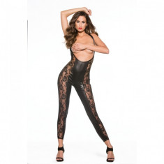 Bodystocking Lace and Wet Look Catsuit Kitten - Lenjerie sexy femei, Negru, M