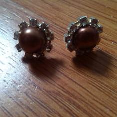 Cercei perle cultura maro cafea si cristale - Cercei perla