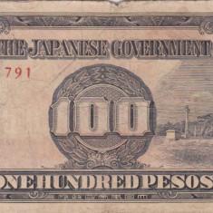 OCUPATIA JAPONEZA IN FILIPINE 100 pesos 1943 VF-!!! - bancnota asia