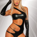 Wetlook Monokini Body Latex Look - Lenjerie sexy femei, Negru, L
