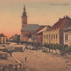 SIGHET MARAMURES PIATA ZI DE TARG CARUTE CIRCULATA - Carte Postala Maramures dupa 1918, Printata, Sighetu Marmatiei