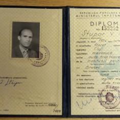 BDA S1 - DIPLOMA ABSOLVIRE - INSTITUTUL POLITEHNIC - 1963 - PIESA DE COLECTIE - Diploma/Certificat