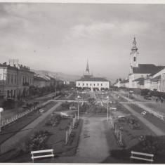 SIGHET MARAMURES PIATA UNIREI PARCUL BENZINA PHOTO ORIG. FOTOFILM CLUJ - Carte Postala Maramures dupa 1918, Necirculata, Fotografie, Sighetu Marmatiei