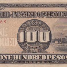 OCUPATIA JAPONEZA IN FILIPINE 100 pesos 1943 VF+++!!! - bancnota asia