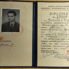 BDA S1 - DIPLOMA ABSOLVIRE - FACULTATEA ECONOMIE - 1961 - PIESA DE COLECTIE