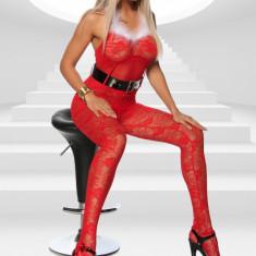 BodyStocking Valentines & Christmas Day - Lenjerie sexy femei, Rosu, M