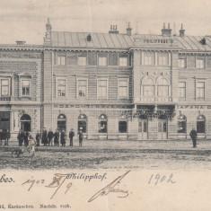 BANAT CARANSEBES CAFENEA CENTRALA PHILIPPHOF CLASICA CIRCULATA 1902 - Carte Postala Banat pana la 1904, Printata