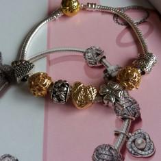Bratara Pandora 2 tonuri placata argint 925 aur + 7 charm talismane cadou - Bratara argint pandora, Femei