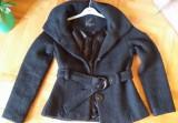 REDUCERE! Palton AMISU, negru modern, 38 S/M, gluga, primavara toamna