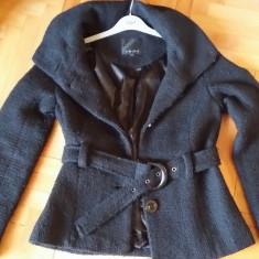 REDUCERE! Palton AMISU, negru modern, 38 S/M, gluga, primavara toamna - Palton dama