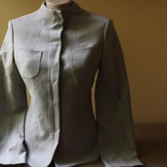 Sacou Sisley, stofa de lana 98%, gri, deschis, guler tunica - Sacou dama Sisley, Marime: S