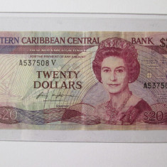 Rara! Bancnota 20 Dollars St.Vincent 1987-1988 - bancnota america