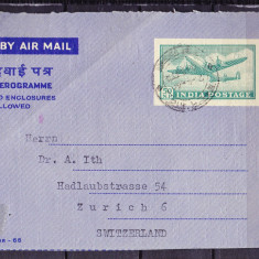 Plicuri si intreguri postale INDIA 1966 = FRAGMENT DE PLIC POSTA AERIANA