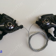 Set 2 Schimbatoare - Schimbator Viteze + Manete Frana Bicicleta - 3 + 7 viteze - Piesa bicicleta
