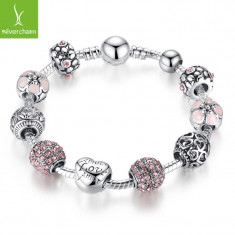 LIVRARE GRATIS -- BRATARA PANDORA PINK ROSE 10 charm placata argint 18 cm - Bratara argint Swarovski