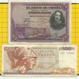 LOT- Spania 50 pesetas 1928-Grecia-100 drahme-1978-