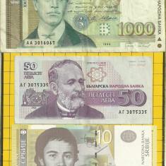 LOT- Bulgaria 50/1992 si 1000 /1994 leva -Serbia 10 dinari 2006 - bancnota europa