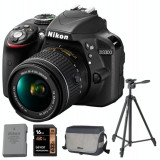 DSLR NIKON D3300 Kit AF-P 18-55mm VR (black) + accesorii