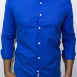 Camasa albastra de in - camasa slim fit camasa in camasa barbat cod 123 - Camasa barbati, Marime: S, XXL, Culoare: Din imagine, Maneca lunga