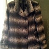REDUCERE! Palton negru cu gri, elegant, modern, marime S/M, primavara-toamna