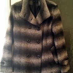 REDUCERE! Palton negru cu gri, elegant, modern, marime S/M, primavara-toamna - Palton dama, Culoare: Multicolor