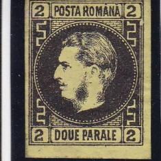 ROMANIA1867 LP 18a CAROL I FAVORITI 2 PAR N/GALBENA MI 14 Y H.SUBTIRE GUMA ORIG - Timbre Romania, Nestampilat