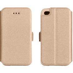 Husa HUAWEI P10 Lite Flip Case Inchidere Magnetica Gold - Husa Telefon Huawei, Auriu, Piele Ecologica, Cu clapeta, Toc