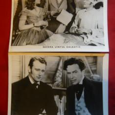 "2 Fotografii film ""Secera vantul salbatic"" cu John Wayne, Paulette Goddart 1942 - Autograf"