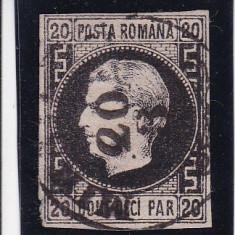 ROMANIA1867 LP 20c CAROL I FAVORITI 20 PAR N/ROZ MI 16 Y H.SUBTIRE GUMA ORIG - Timbre Romania, Stampilat