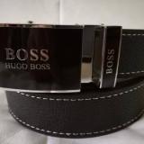 Curea H B negru pentru pantaloni, blugi, cu catarama metalica negru-lucios , NOU