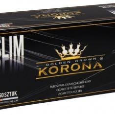 Tuburi tigari KORONA SLIM - 250 buc. la cutie pentru injectat tutun - Foite tigari