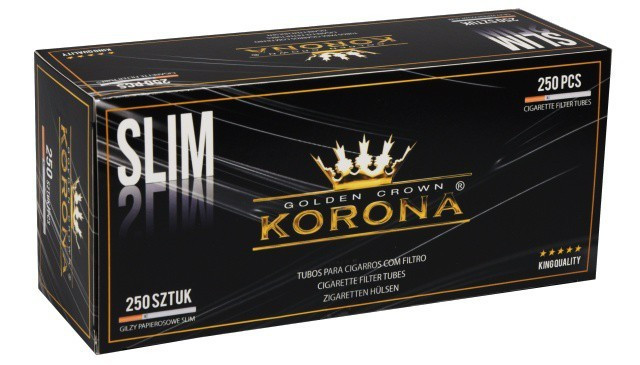 Tuburi tigari KORONA SLIM - 250 buc. la cutie pentru injectat tutun