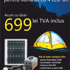 Kit fotovoltaic complet cu LED-uri pentru cabane 15W/4LED/12Ah + incarcator pentru telefoane mobile - Panou solar