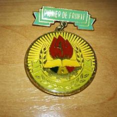 INSIGNA PIONIER DE FRUNTE FOND GALBEN, Romania de la 1950
