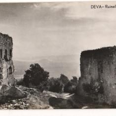 CPI (B8303) CARTE POSTALA - DEVA - RUINELE CETATII, RPR - Carte Postala Transilvania dupa 1918, Necirculata, Fotografie