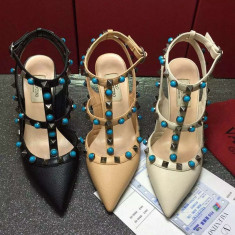 Pantofi VALENTINO GARAVANI ROCKSTUD - PIELE NATURALA - Pantof dama, Culoare: Ivoire, Negru, Nude, Marime: Alta, Cu toc