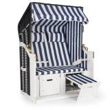 Blum Feldt Hiddensee scaun plaja XL 2 locuri 118 cm , pin si răchită albastru / cu carouri albe