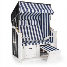 Blum Feldt Hiddensee scaun plaja XL 2 locuri 118 cm, pin si răchită albastru / cu carouri albe - Scaun gradina