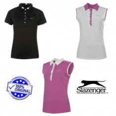Tricou Dama Slazenger Polo Golf original - marimea L si XL, Marime: L, Culoare: Alb, Negru, Rose, Poliester