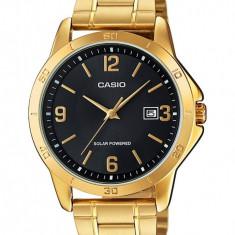 Casio Ceas auriu cu alimentare solara MTP - Ceas barbatesc Casio, Elegant, Quartz, Otel, Analog, Diametru carcasa: 40
