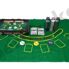 Set poker complet Texas Hold Em 300 jetoane inscriptionate euro pachete carti, Numar jetoane: 200