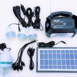 Panou solar kit fotovoltaic 4 becuri radio mp3 USB incarcare telefon GD8051