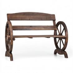 Blum Feldt Ammergau scaun de grădină, roți de lemn, 108x65x86cm pin flambat - Scaun gradina