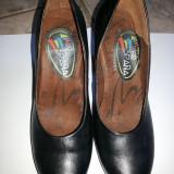 Pantofi de dama, Espana, din piele, culoare neagra, marime 37 - Pantof dama, Culoare: Negru, Cu toc