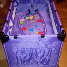 Patut pliant mov - Patut pliant bebelusi, 120x60cm, Violet