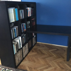 Birou+biblioteca IKEA negru