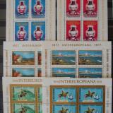 Intereuropa 1976, 1977, 1978 3 perechi de cate 2 blocuri complete nestampilate - Timbre Romania