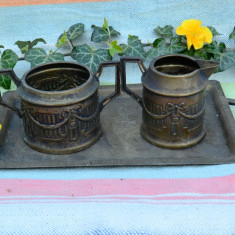 TREI PIESE FOARTE VECHI: TAVA DOUA ANSE, LATIERA SI ZAHARNITA, NECURATATE - Metal/Fonta, Vase