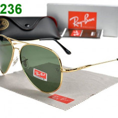 Ochelari Ray Ban Aviator - Ochelari de soare Ray Ban, Unisex, Albastru, Dreptunghiulari, Metal, Protectie UV 100%
