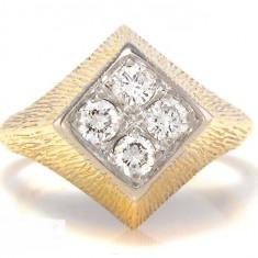 Inel Aur Vintage Aur 14k Cu Diamante 0 40ct Cu Acte - Inel diamant, Culoare: Galben